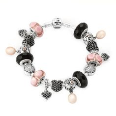 bling, pandora jewelri, charm bracelets, pandora jewelry, pandora charms, pandora bracelets, total gorgeous, black and pink jewelry, pink pandora bracelet