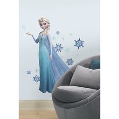 "Large (41.5""), five-piece Elsa wall decal with her Snow Queen outfit and long train behind her dress--perfect for your little #princess! Over 30 snowflakes of all sizes and multiple shades of blue. #MadeinUSA www.nortonsusa.com"