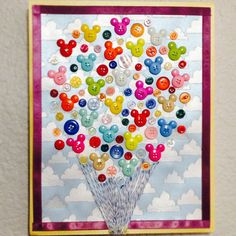 """DIY Disney/Pixar's """"Up!"""" wall art! I made Carl's balloons out of buttons, and mounted the picture on an 8x10 canvas.  #disney #crafts #diy"""