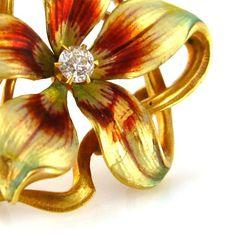 KREMENTZ Art Nouveau 14K Diamond Flower Brooch
