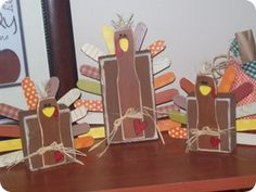 2x4 & paint stick turkeys