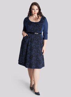 Savannah Dress in Indigo Jaquard