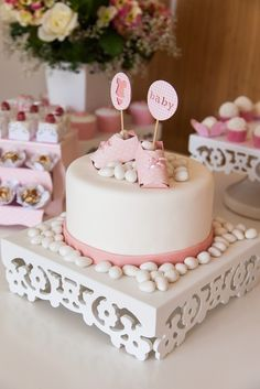 Lovely cake at a Spring Garden Baby Shower Party!  See more party ideas at CatchMyParty.com!
