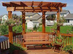 pergola swing for backyard Corner Pergolas, Modern Home Design, Decks, Outdoor Living, Gardens, Patios, Porches Swings, Hanging Baskets, Backyards