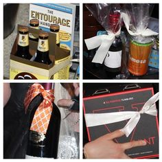 booze related prizes for the stock-the-bar shower games-- Riedel glasses, wine & mimosa minis w/ lotto tickets, the groom's favorite beer & a fun book, and some (south african!) red wine... only the best for Hollathan's guests!    #hollathan
