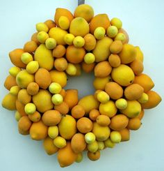 Christmas Wreath, Sugared Lemon Fruit Wreath.  via Etsy.