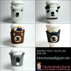 Something beary cozy for your drink cups and cans. Grab a cute #crochet #cozy today from #msamandajayne!