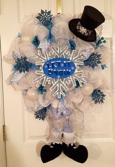Snowman deco mesh wreath on Etsy, $69.00