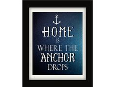 "A nautical take on the traditional ""Home Sweet Home"" print"