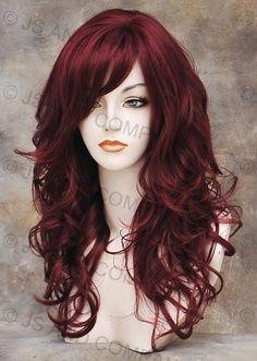... Burgundy Red Hair, Curly Hair Bangs, Hair Style, Deep Burgundy Hair