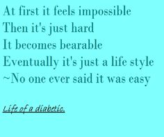 The best description of 'coming to terms with diabetes' that I've read!