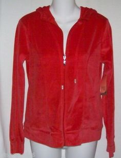 Danskin Now Red Velour Hoodie Jacket Size Small 4/6 Hooded New with Tags free shipping