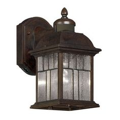 Portfolio�11-1/2-in H Bronze Motion Activated Outdoor Wall Light - Motion and Dusk to Dawn @ Lowes $60 front door
