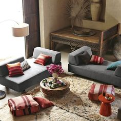 More great Moroccan design with pretty kilim poufs. Similar ones sold in www.redthreadsouk.com