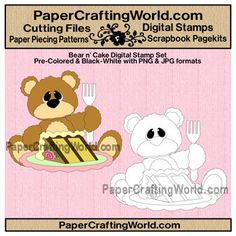 Digital Stamp, Bear with Cake. Pre-Colored and Black and White for one low price. Direct Link: http://www.papercraftingworld.com/item_722/Bear-n-Cake-Slice-Set.htm