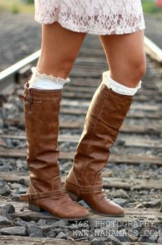 Outlaw Zipper Back Boots from NanaMacs boutique  #boots #tan #brown #kneehighboots