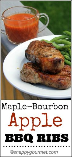 Maple Bourbon Apple BBQ Ribs - with a quick and easy homemade BBQ sauce! snappygourmet.com