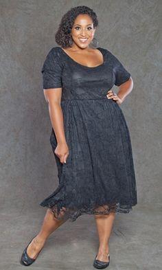 Plus Size Black Lace Dress ~ Plus Size Clothing at www.curvaliciousclothes.com Sizes 1X-5X