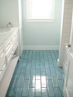 Ocean blue floor tiles!