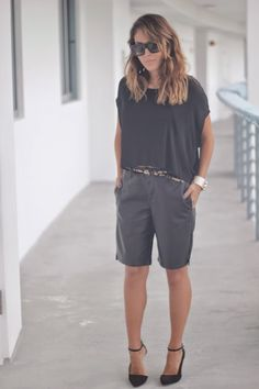 Cool Girl: Forever 21 Faux Leather Bermuda Shorts & Alexander Wang Tee