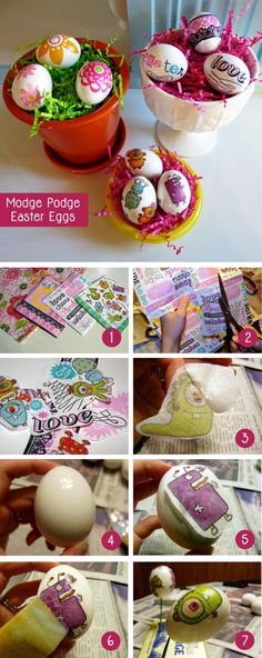 Mod Podge eggs!