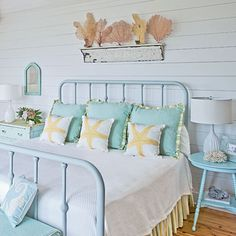 Coastal Pastels from Coastal Living: Soothing pastels have a universal appeal, especially in a coastal setting where relaxation is key. Colors that reflect the beach are a natural fit with these decorative coral accents and parading sea star summer pillows. I so agree! bed frames, beach cottages, beach bedrooms, color, guest bedroom, beach houses, coastal living, beachhous, guest rooms