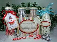 Snowman soup!  Great homemade gift reusing frappuccino bottles