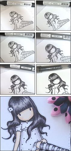 Black hair with Promarkers