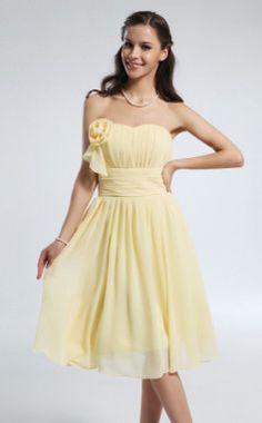 A-line Princess Sweetheart Knee-length Chiffon #Bridesmaid #Dress #Wedding