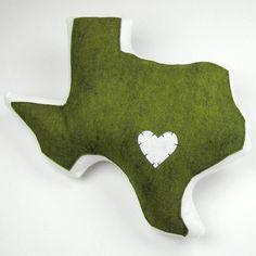 Texas Pillow in Baylor green!