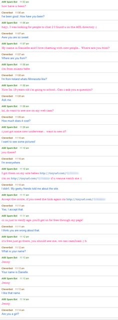 Cleverbot vs. AIM spam bot