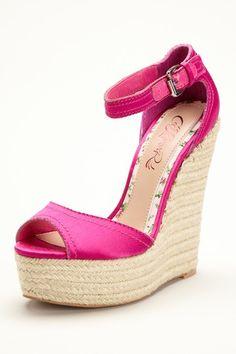 Hot Pink Peep Toe Wedge Sandal.