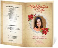 Floral Theme : Carol Preprinted Title Letter Single Fold Program Template perfect for a loved one's memorial service. Edits with word, openoffice, publisher, apple iwork pages.