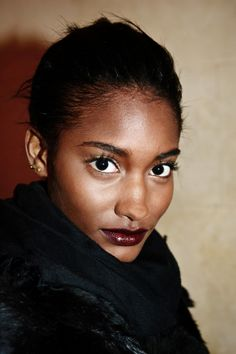 Mulberry tones for lips at Zac Posen Fall 2013