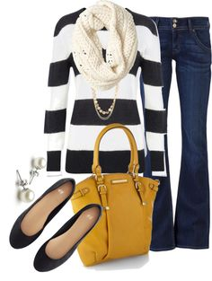 Black and white stripes, white scarf, dark jeans, black flats, mustard purse and pearl earrings. I can do this too!