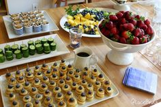 Baby Shower / Baby Sprinkle Brunch Food - mini pancakes with blueberries, fruit, cucumbers, mini yogurt cups, and tea
