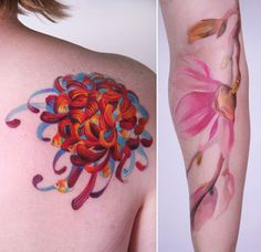 Watercolour coral and fish tattoo reminds me of a chrysanth beaut!