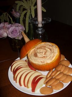 Fall pumpkin dip!  15oz can of pumpkin  5oz box of instant vanilla pudding{just the powder, do not make the pudding}  16oz container of cool whip  small pumpkin  1/2 tsp of pumpkin spice  1/2 tsp cinnamon