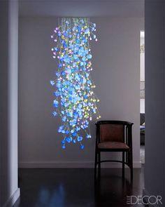 project instal, elle decor, flower art, ell decor, jennif steinkamp, art installations, greenwich village, light, jame huniford