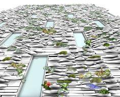Planter Bricks on a building facade #greenbuilding #verticalgardens architects, vertic garden, architectur, garden walls, planter brick, ceramics, brickverticalgarden, bricks, planters