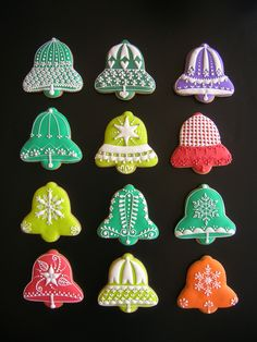 Christmas cookies by @Delissshhh - just a photo - no link -  love the designs on the bells - could also use this to design for bridal showers, weddings & anniversaries...