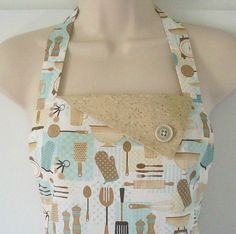 Vintage Style Apron / Kitchen Utensils and by Eclectasie on Etsy, $35.00