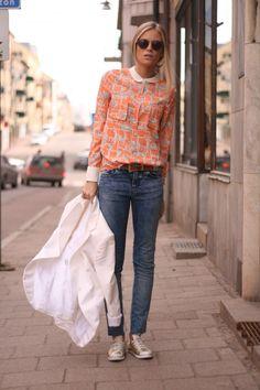 #printed, blazer, denim  street fashion #2dayslook #new style #fashionforwomen  www.2dayslook.com