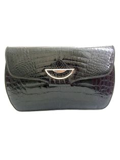 70s CARVEN CROCODILE CLUTCH  black patent leather by lesclodettes, $79.00