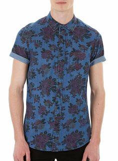 Denim Rose Print Shirt