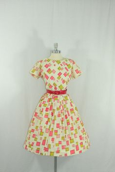 1950's Vintage Dress  Designer Pink and Green Mod Squares R & K Original by VintageFrocksOfFancy