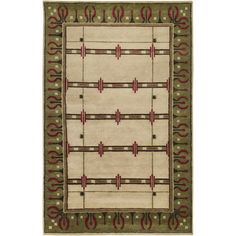 8x11 Hand Knotted Arts Craft Mission Style Red Green New Zealand Wool Area Rug | eBay