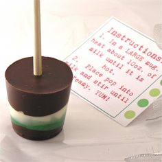 Hot Chocolate on a Stick!  Marshmallow Center -- Stir in hot milk.