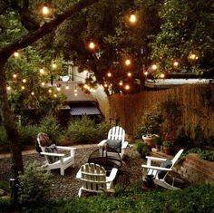 fire pits, outdoor yard, adirondack chairs, under the stars, backyard makeover, backyard patio lighting, backyard light, lights in backyard, garden