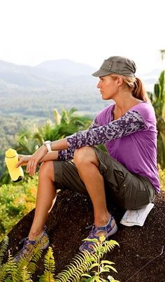 Hiking outfit. I often like to sit and stare off into space. It's a past time that I truly miss.